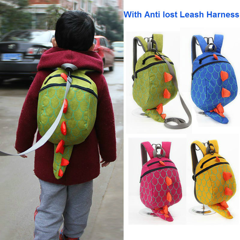 New 3D Cartoon Dinosaur Bag Baby Toddler Anti lost Leash Harness Strap Walker Kids Lunch Box