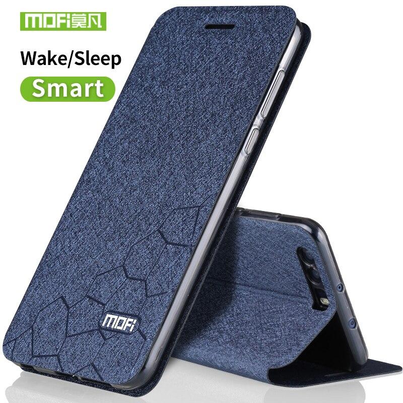 Huawei honor 9 carcasa de silicona de lujo Flip cuero original MOFI Huawei honor 9 caso 5.15 transparente TPU metal foundas