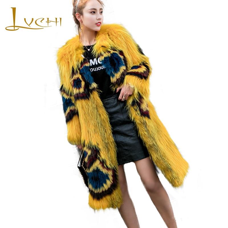 LVCHI 2019 Winter Real Fox Fur Coats Slim Real Natural Fox Fur Coat Women's Print Light Contrast Color Long Wave Fox Fur Coats