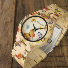BOBO BIRD WO20 Lady Wood Watch for Women Bamboo Band Painting Butterfly Quartz Watches in Wooden Box OEM