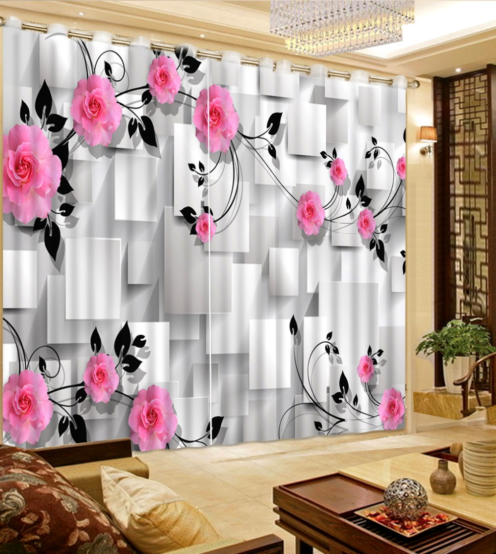 3D Curtain Photo Customize Size Living Room Square Plaid Flowers 3D Window Decorative Curtains Blackout Curtain Fabric3D Curtain Photo Customize Size Living Room Square Plaid Flowers 3D Window Decorative Curtains Blackout Curtain Fabric