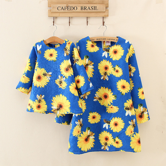 Family set Autumn Mother Daughter Dresses New Brand Family Clothing sunflower Floral A-Line Matching Mother Daughter Clothes