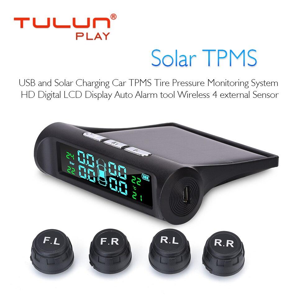 Monitoring-System Lcd-Display Tyre-Pressure Solar-Power Car Tpms 4-Sensors Digital