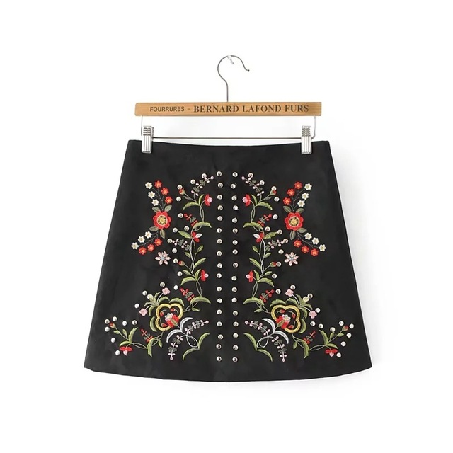 57d5cfd870 winter vintage floral embroidery studded suede skirts women rivet fake  diamonds beading zipper casual faldas female mini skirt