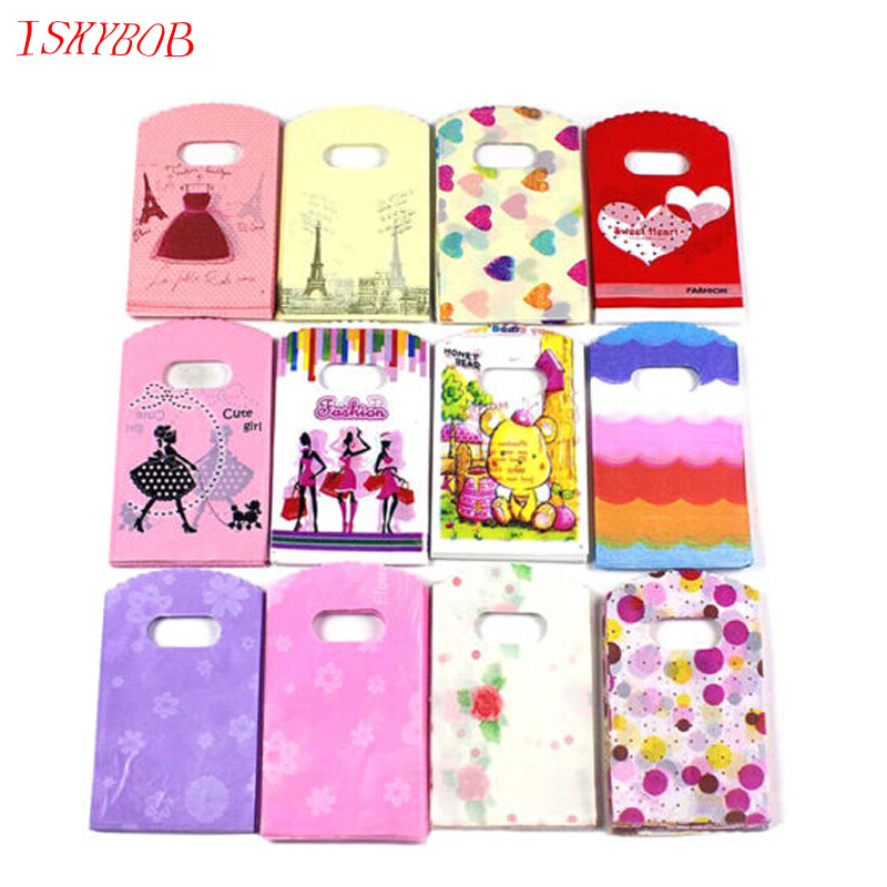 50pcs Wholesale Lot Pretty Mixed Pattern Plastic Gift Bag Shopping Bag 15X9CM