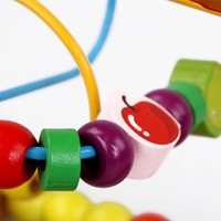Wooden Educational Toy For Children Baby Counting Fruit Bead Labyrinth Yarn Roller Coaster