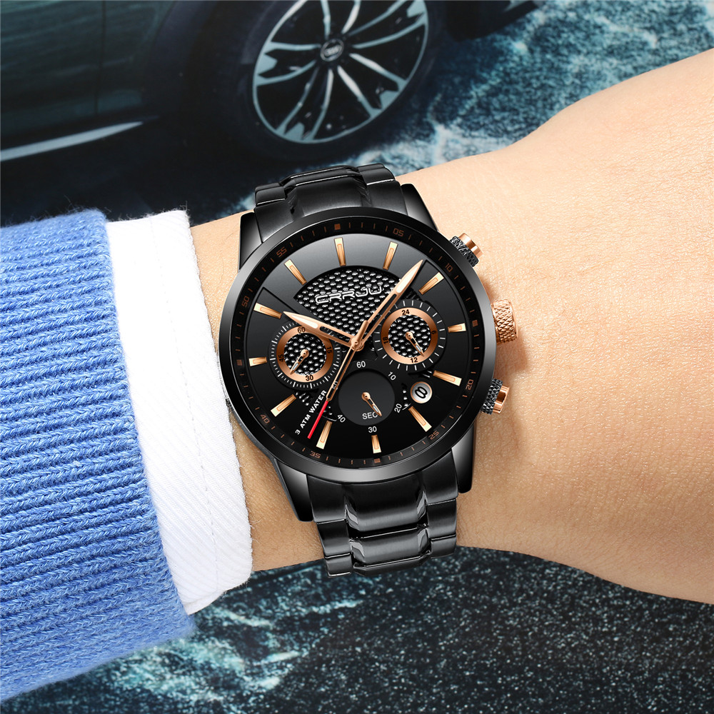 Image 5 - CRRJU Mens Watch 30m Waterproof Fashion Mens Watches Top Brand Luxury Steel Watch Chronograph Male Clock Saat relojes hombrehombrehombre reloj  -
