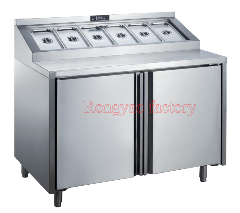 Air Cooling Vegetable Salad Operating Table Operation Work Bench Fruit Pulp Partical Storage Refrigeration