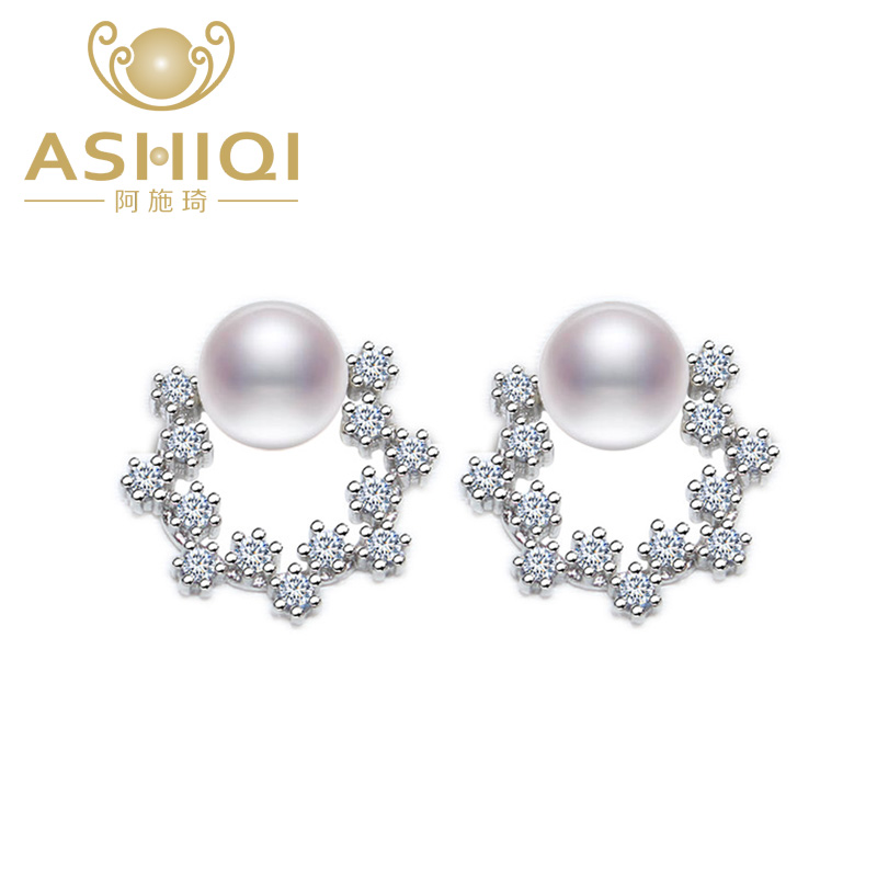 ASHIQI Authentic 925 Sterling Silver stud earrings brilliant color Natural Freshwater Pearl Earring For Women Anniversary Gift