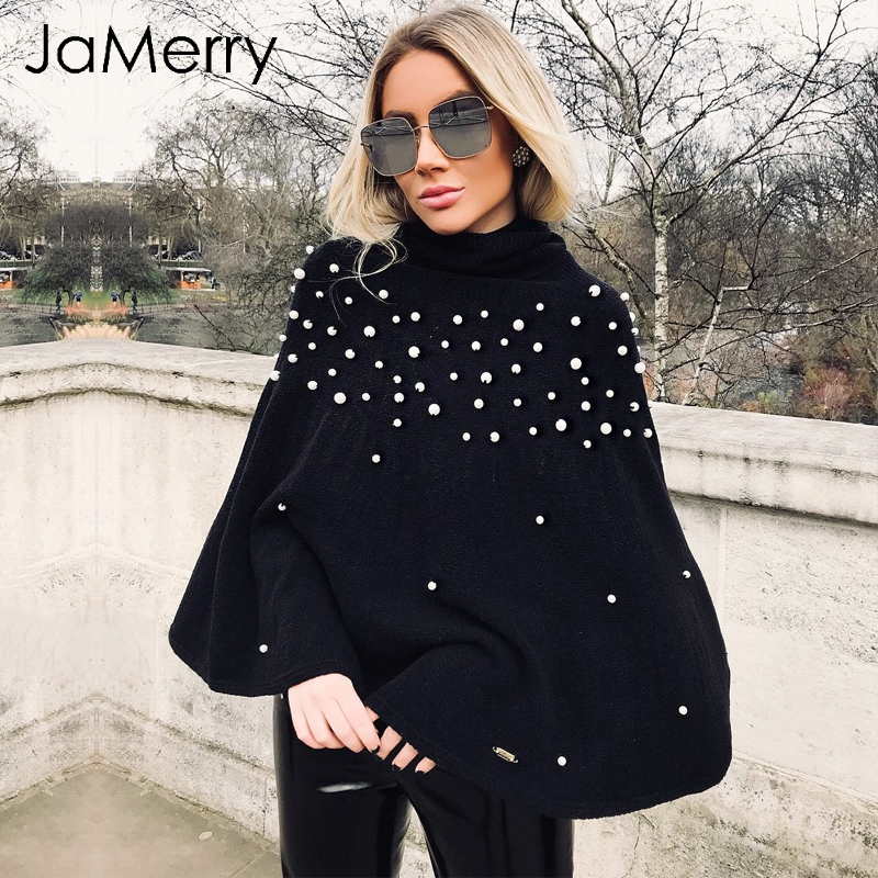 JaMerry Beading Casual Knitting Cloak Women Turtleneck Sweater Oversized Loose Pullover Winter Fashion Knitted Sweater Femme