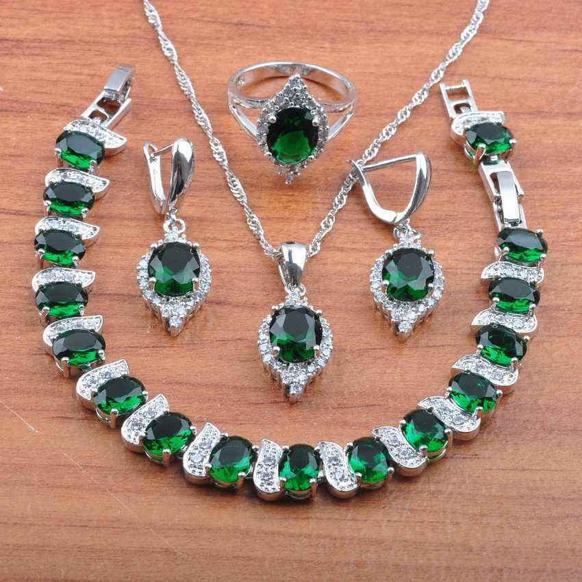 Fabulous 925 เงินธรรมชาติหิน CZ สีเขียวชุดเครื่องประดับ Dangle ต่างหู/สร้อยคอ/สร้อยข้อมือ/แหวนผู้หญิงชุด JS0516
