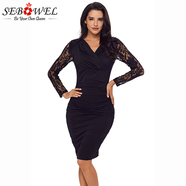 SEBOWEL 2018 New Sexy Black Floral Lace Party Dress Women V-neck Long  Sleeve Ruched Sheath Short Dresses Plus size S-XXL bb33208435a9