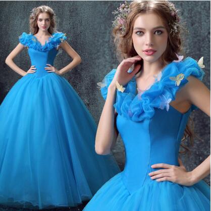 Custom Made 2015 New Design Adult Cinderella Costumes Women Halloween Party Dress Cosplay