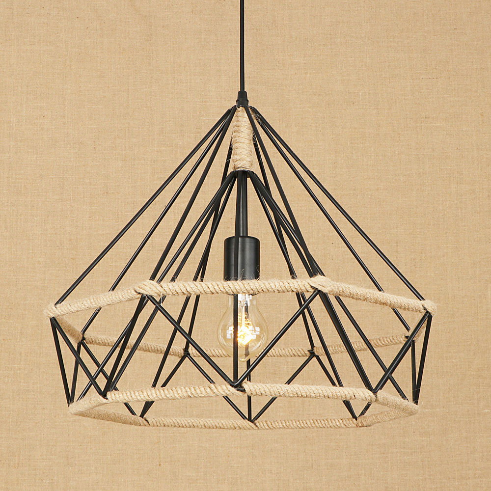 Loft retro industrial American country vintage black pendant lamp E27 LED hemp rope pendant light modern for bedroom living room vintage industrial american country black iron hemp rope led e27 pendant light for restaurat coffee bar dia 30 40cm 1656