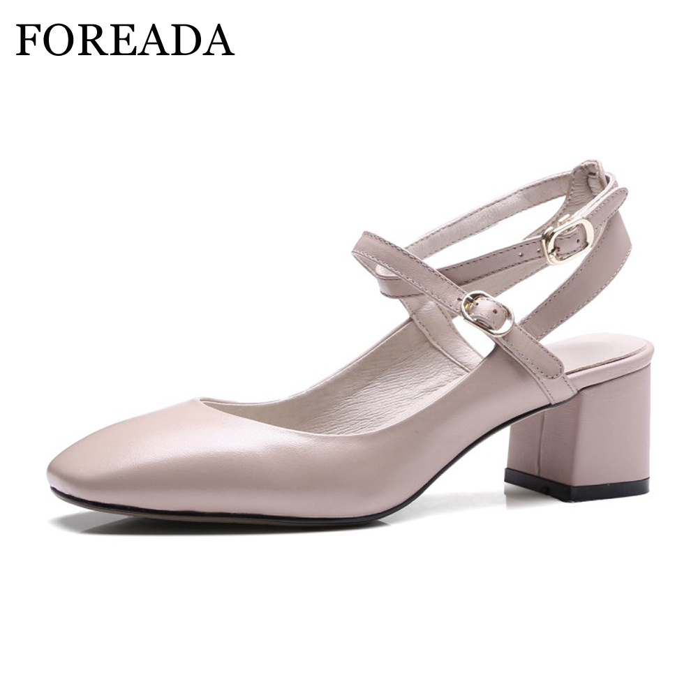 FOREADA  Genuine Leather Shoes Women High Heel Ankle Strap Pumps Slingbacks Buckle Chunky Heels Work Shoes chaussure femme talon