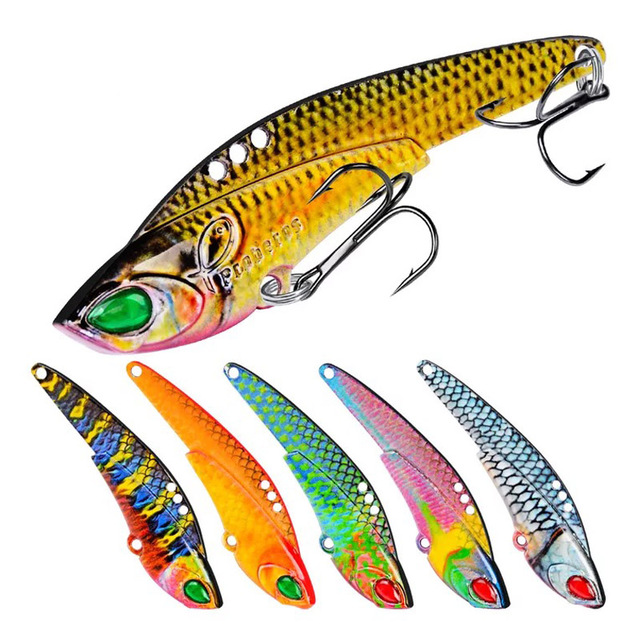 1 pz metallo VIB 17g / 7cm richiamo di pesca vibrazione cucchiaio richiamo Crankbait basso artificiale esca dura cicala VIB affrontare