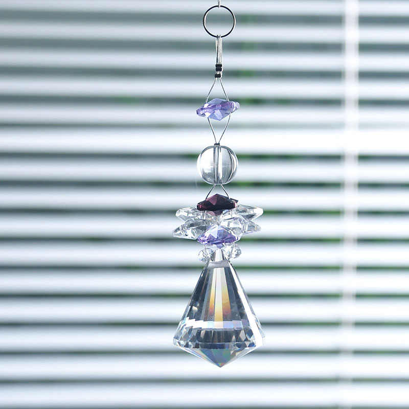 H & D 38 Mm Bening Kerucut Bawah Liontin K9 Kristal Prisma Lampu Gantung Bagian SunCatcher 3.8*1.3 Inci Mobil gantung Dekorasi Pernikahan Alat