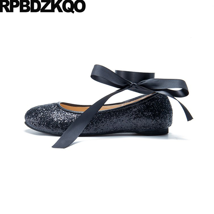 Ballet Lace Up Ankle Strap Women Flats Black Glitter Silver Ballerina Cheap Round Toe Autumn Spring Bling Sequins Single ShoesWomens Flats   -