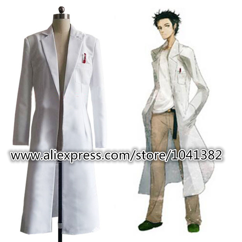 Steins Gate Okabe Rintarou Cosplay Costume Coat Long Jacket White Jacket Costume