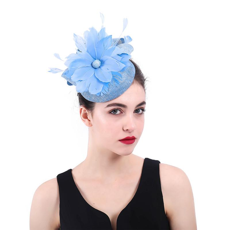 European American Style Fashion Ladies Feather Flower Small Hats Handmade Western Style Banquet Hats Wedding Headwear