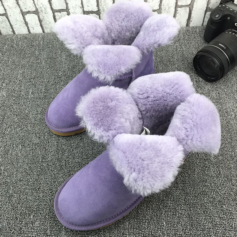 UVWP High Quality Women Fashion Snow Boots Genuine sheepskin leather Warm Natural Fur Winter Shoes real wool women ankle boots new fashion brand women snow boot genuine sheepskin leather snow camouflage boots natural fur winter boots warm wool women boots