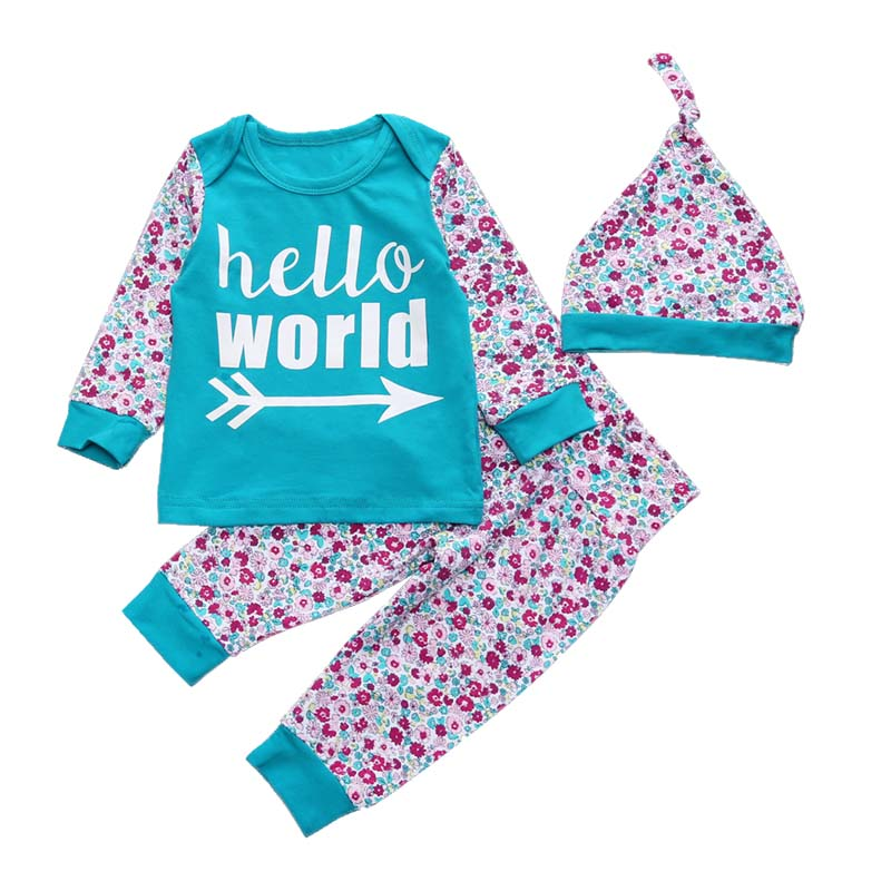 Autumn Flower Print Girl Clothes Set Infant Baby Girl Hello World Arrow Green T-shirts+Pant+Hat 3pcs Outfit Sets Baby Outfits newborn infant baby girl short sleeve arrow romper striped leg warmers headband 3pcs pink outfits set clothes