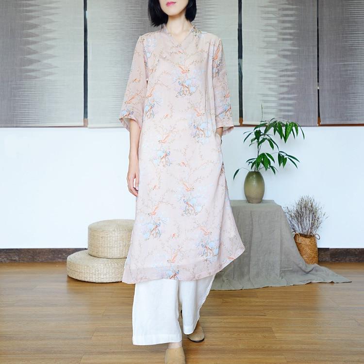 Robe d'été Ramie robe pour femme imprimé Double couche col en v robe haute fendue dans le Long Style rétro Cheongsam robe