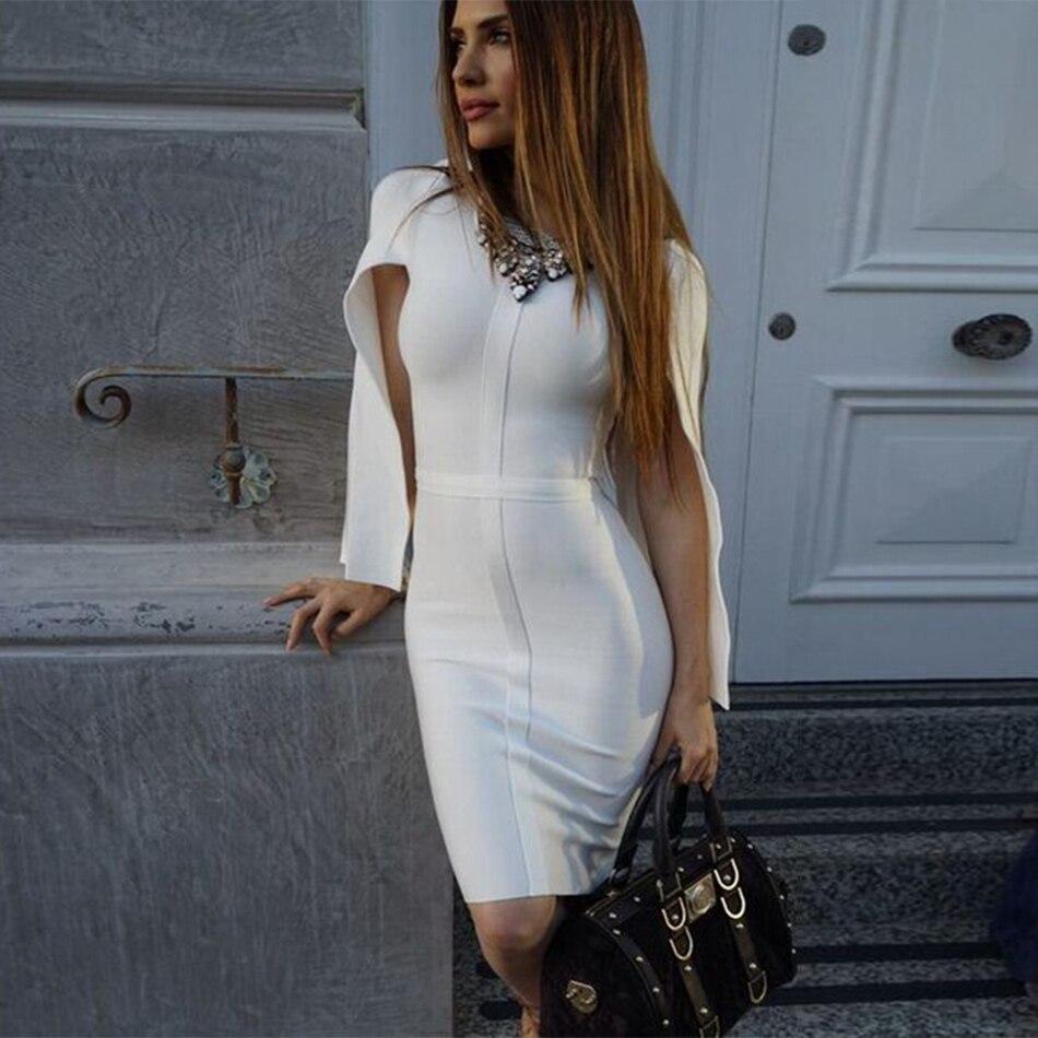2018 новое летнее Бандажное Платье женское знаменитвечерние праздничное белое платье с рукавом «летучая мышь» с круглым вырезом элегантное ...