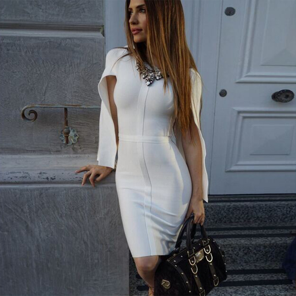 2018 New Summer Bandage Dress Women Celebrity Party White Batwing Sleeve O-Neck Elegant Sexy Night Out Club Dress Women Vestidos