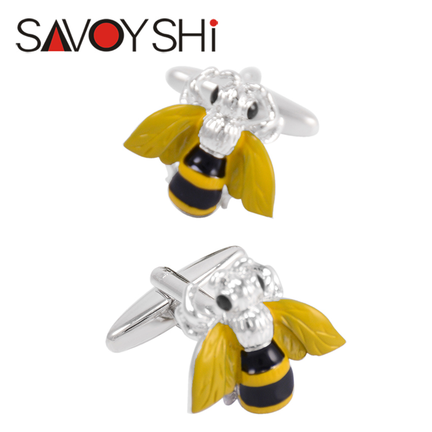 SAVOYSHI Trendy 3D Bee Cufflinks For Mens Shirt Cuff Bottons High Quality Enamel Insect Cufflinks Fashion Brand Men Jewelry Gift