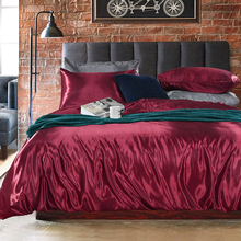 Deluxe silk like satin Bedding 3 piece set King Queen size double bed linen pink down quilt pillowcase Comfort  Home Textile