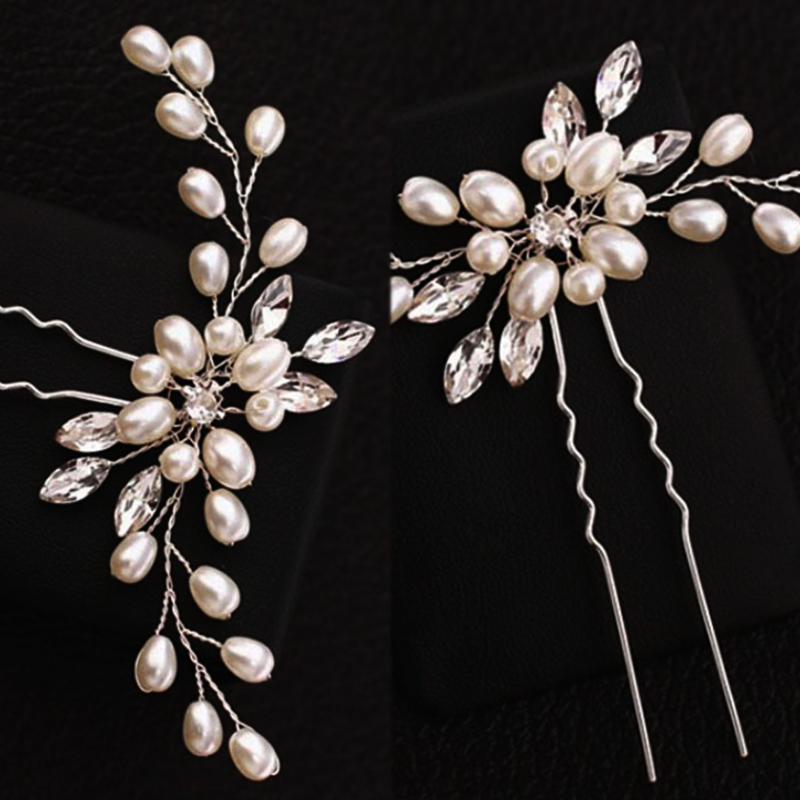 Купить с кэшбэком Hot 1PC Handmade Pearl Elegant Silver Crystal Hair Pins Bridal Flower Wedding Bridesmaid Bridal Veil Modeling Tool