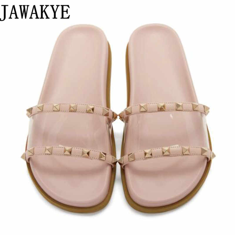 182ed94719e Summer gladiator Shoes Women Rivets Studded Outdoor Beach Slippers  flipflops clear PVC Flats Slides 2018 Cozy
