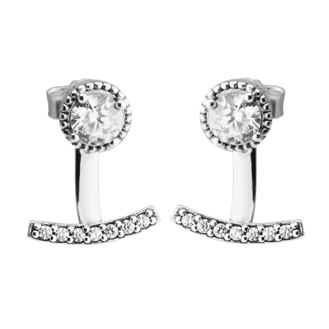 a14502a49 Abstract Elegance Earring With Clear CZ 100% Sterling-Silver-Jewelry Free  Shipping