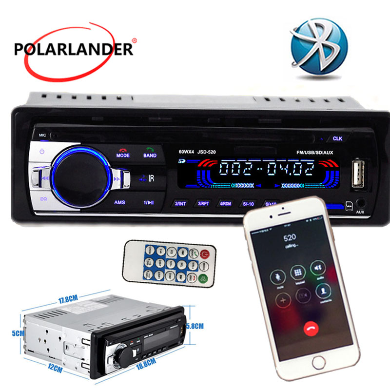 nuevo Radio para Coche Reproductor de bluetooth MP3 FM / USB / un tamaño Din / control remoto / puerto de tarjeta SD USB 12V Car Audio Steoro 5V cargador de teléfono móvil