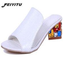 FeiYiTu Women Sandals 2018 New Ladies Summer Slippers Shoes Woman high Heels Fashion Rhinestone shoes Eu Size 35-41