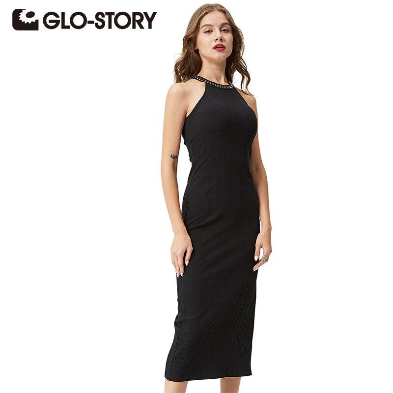 GLO-STORY Women Sexy Party Dress 2018 Black Elegant Sleeveless Bodycon Femmes Side Slit Ribbed Mid-Calf Dress Vestidos WYQ-1366 number