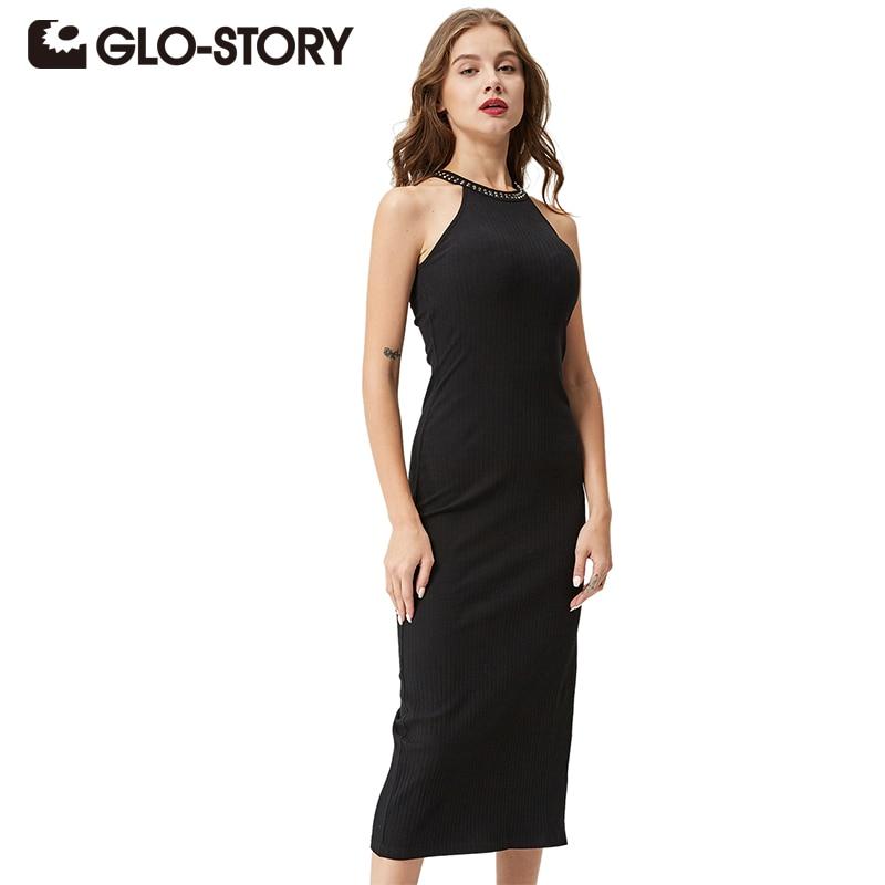 GLO-STORY Для женщин пикантные вечерние платье 2018 Черный Элегантный рукавов Bodycon Femmes с боковыми ребристые до середины икры платье Vestidos WYQ-1366