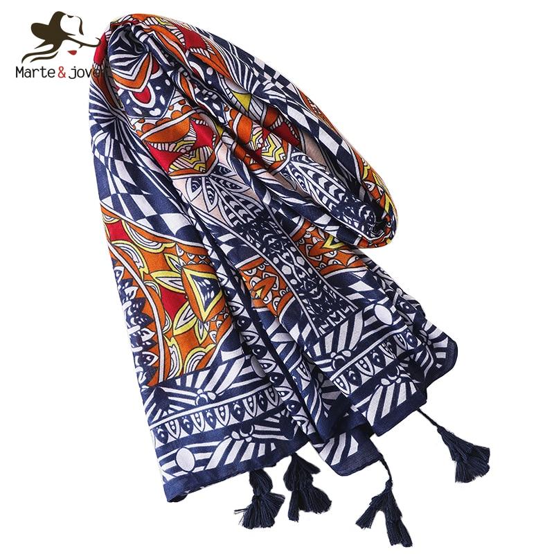 f93f66455f787 Marte&Joven Luxury Design Women Hijab Ethnic Print Scarf Wraps Orange/Blue  Bohemian Autumn Winter Warm Large Size Shawl Pashmina