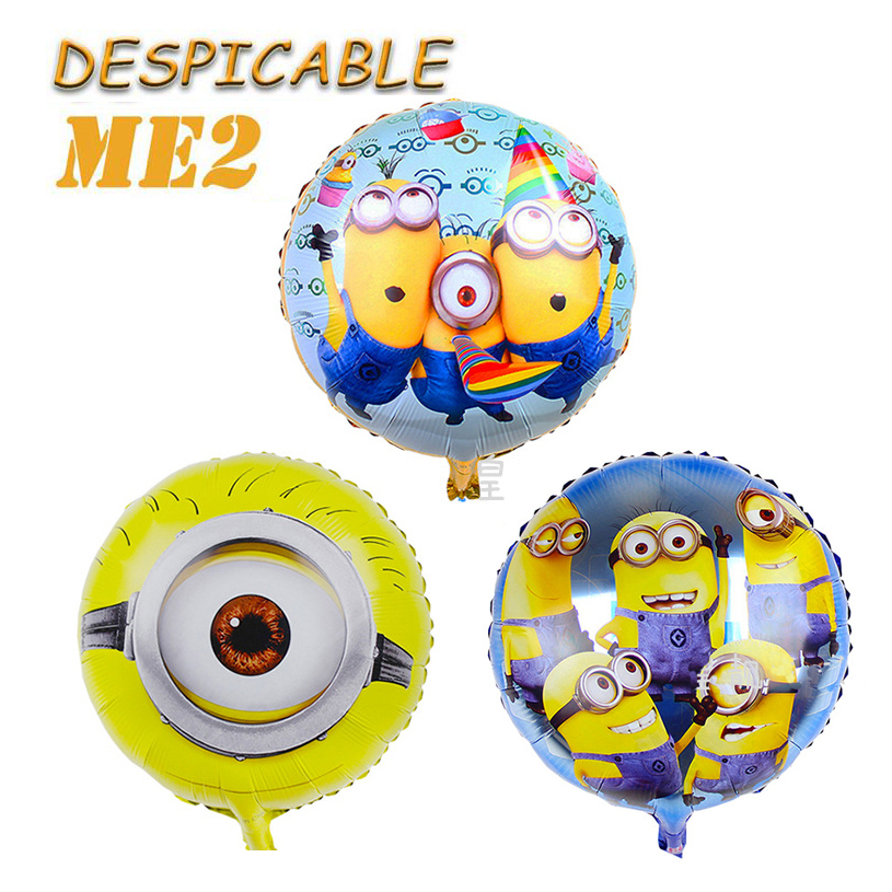 18inch Round Minions Toys Balloons Despicable Me Foil Cartoon Yellow Party Birthday Balloon