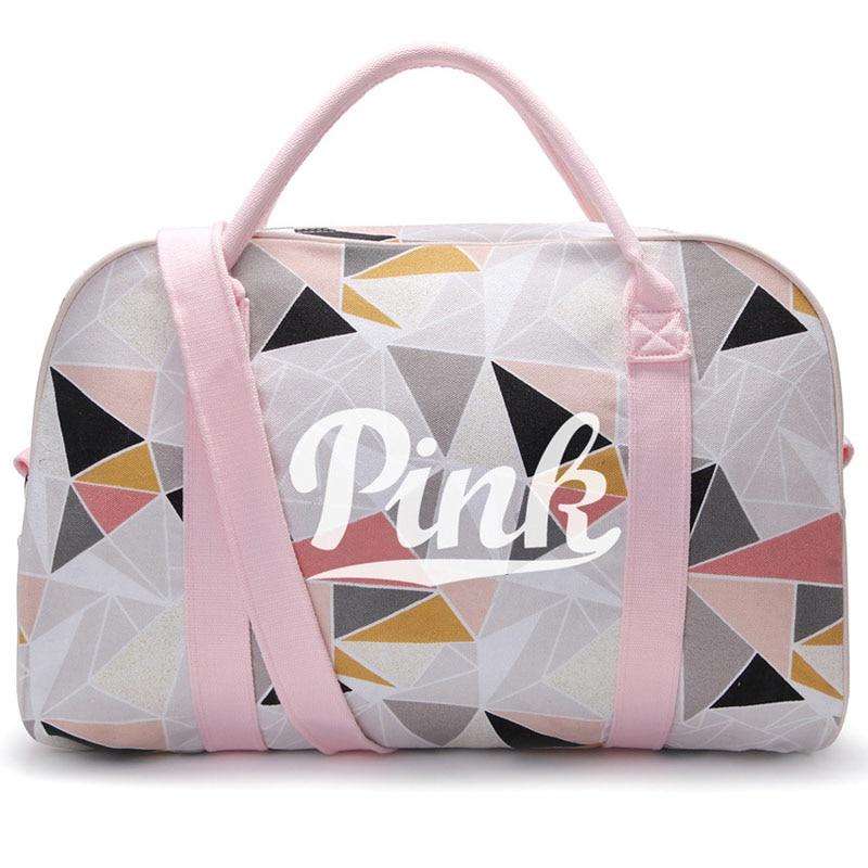 Холст розовый спортивная сумка для Для женщин Фитнес Gym bag Для женщин Сумки Путешествия сумка Йога Коврики сумка