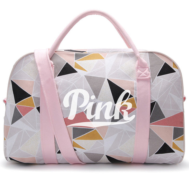 Canvas Pink Sneaker Sports Bag For Women Fitness Gym S Handbags Traveling Shoulder