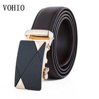 VOHIO Luxury brands 3.5cm gold automatic buckle belt leather men's two layers leather belt men's big male belt code extension