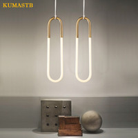Rudi Loop Pendant Lights Nordic Modern Hanging Lamparas Creative Metal Glass U Pipe Lustres Bar Art