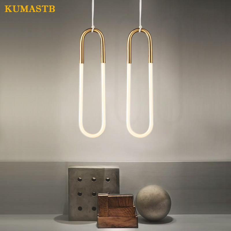 Rudi Loop Pendant Lights Nordic Modern Hanging Lamparas Creative Metal Glass U Pipe Lustres Bar Art Ring Hanging Lamp KUMASTB rudi hilmanto local ecological knowledge