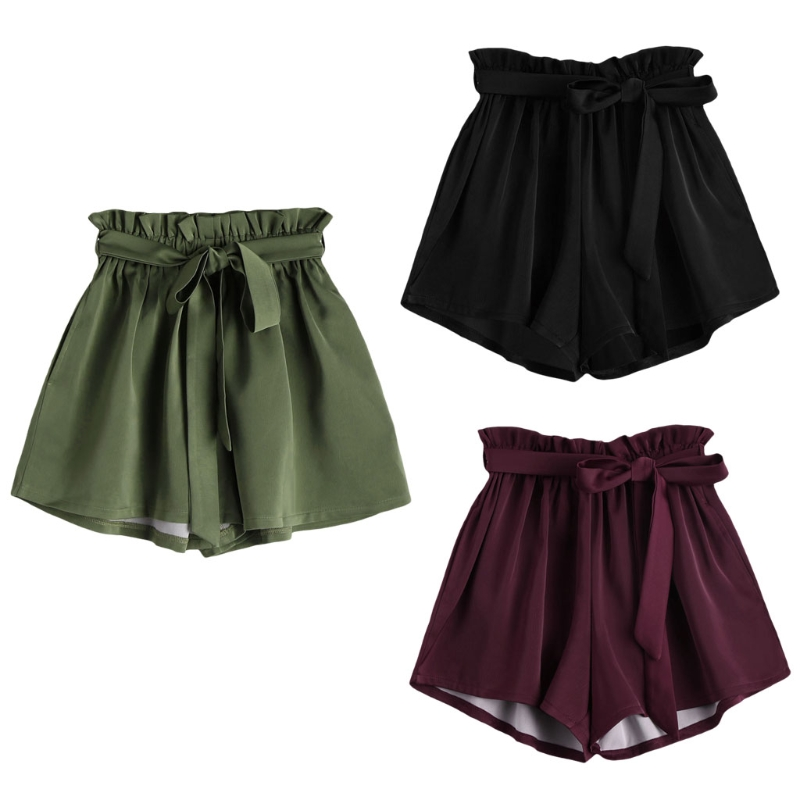 Women High Waist Shorts Women Sexy Smocked Belted Beach Summer Shorts Loose Elastic Waist Streetwear Wide Leg Shorts