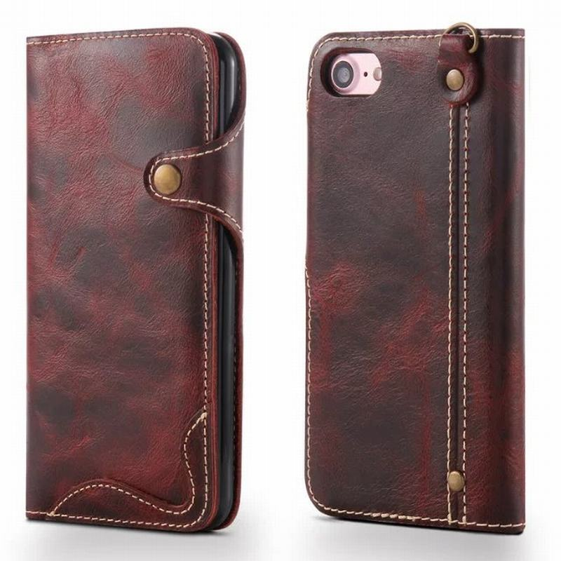 Luxury Vintage Case For Funda iPhone 7 Case Genuine Leather Wallet + Silicone Phone Bags Cases For Apple iPhone 8 Cover Case