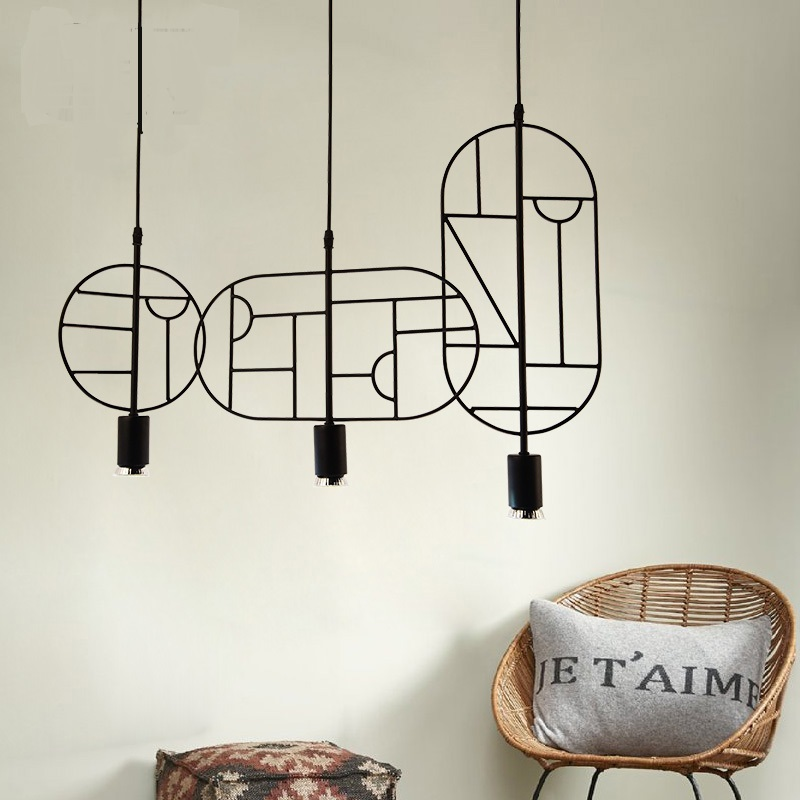 цена на Personality Nordic originality geometry simplicity, modern restaurant bar iron decorative Pendant Lights LO7193