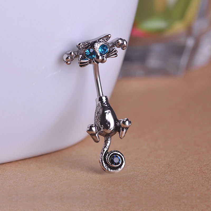 Beautiful cat navel ring body jewelry for Belly button navel jewelry