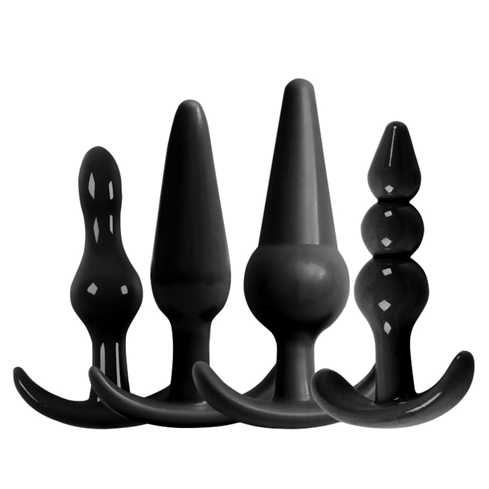 4Pcs Female Masturbator Silicone Anal Plug Beads Butt Massage Stick Sex Toys in Anal Sex Toys from Beauty Health